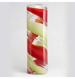 K&K Interiors Tall Glass Vase w Green Red Swirl