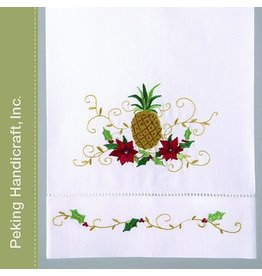 Peking Handicraft Holiday Hand Towel Tropical Pineapple Poinsettia Guest Towel