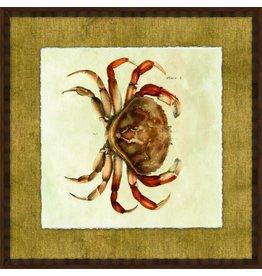 Wendover Art Group Crab I on Burlap w Honey Walnut Frame 26x26