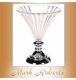 Mark Roberts Stylish Home Decor Vase Compote Glass Scalloped Pedestal