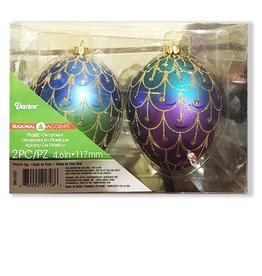 Darice Peacock Eggs Christmas Ornaments 4.6 inches Set of 2