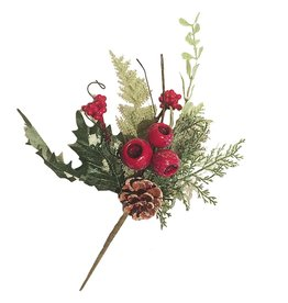 Darice Christmas Pick Pine Red POD Fern 13 inch Christmas Flowers Floral