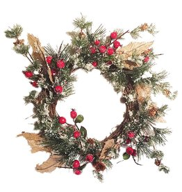 Darice Christmas Wreath 22 inch Pine Needle Red Berries w Burlap Holly Leaf