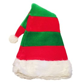 Darice Christmas Hat Velvet Holiday Hat - Red Green Stripe w White Faux Fur Trim