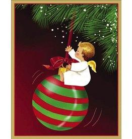 Caspari Boxed Christmas Cards 16pk Angel Swinging on Ornament 86002