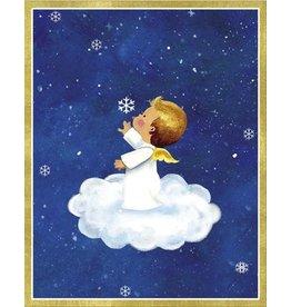 Caspari Boxed Christmas Cards 16pk Angel on Cloud 86012