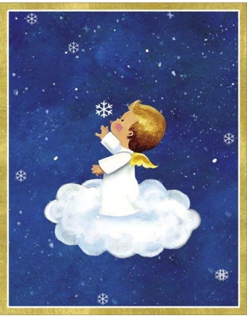 Caspari Boxed Christmas Cards 16pk Angel on Cloud 86012 - Digs N Gifts