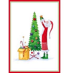 Caspari Boxed Christmas Cards 16pk Santa Decorating Tree 86114