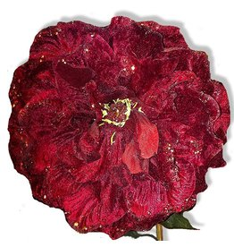 North Star Premier Flowers and Floral Decor Red Peony with Glittered Edge 29L