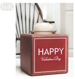K&K Interiors Valentine's Decor B6920 Happy Valentines Day Votive