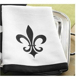 Mud Pie Fleur De Lis Embroidered Linen Hand Towel-Mud Pie Gifts-Black on White
