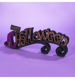 Kurt Adler Halloween Sign Glittered Happy Halloween w Witch Hat Table Sign