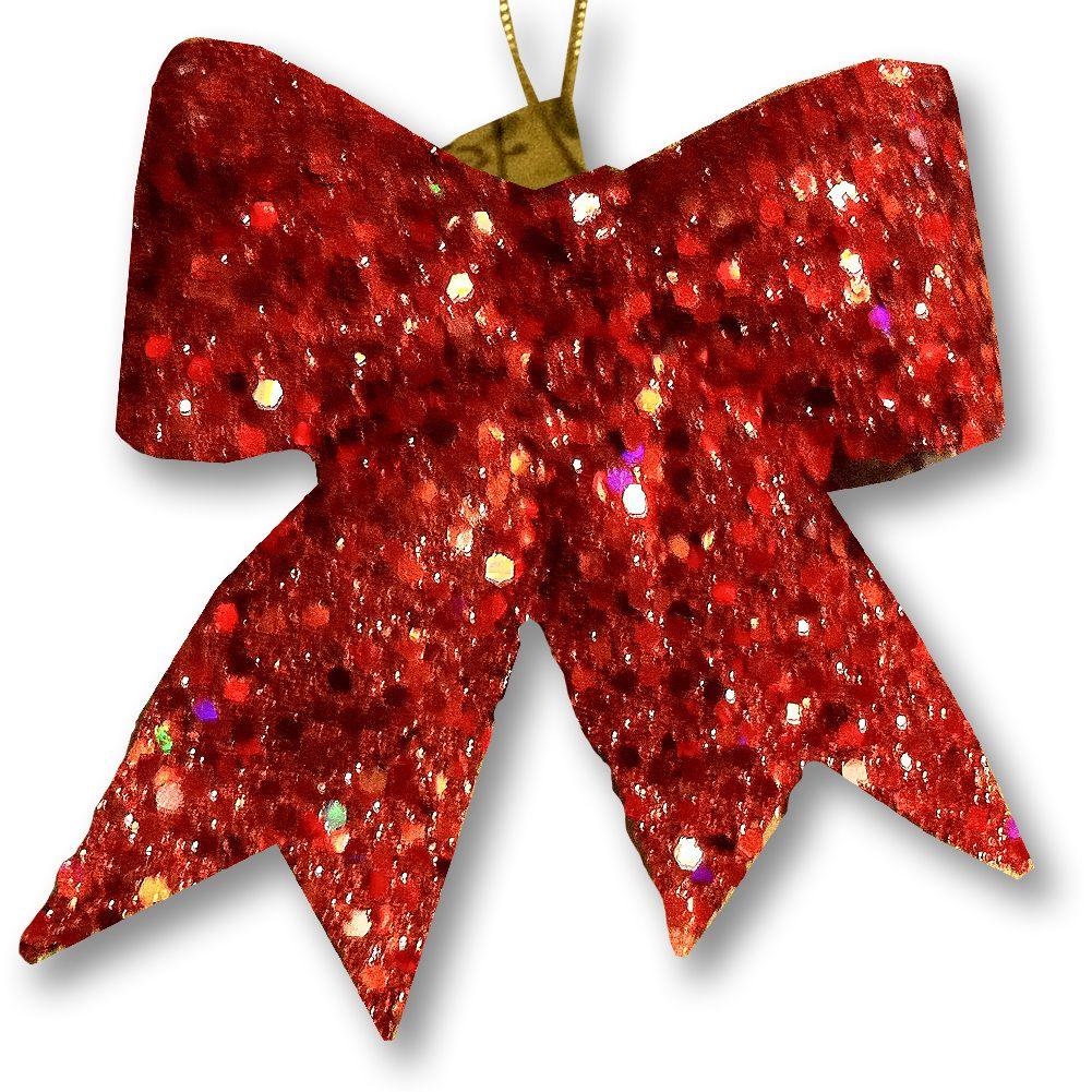 mark roberts christmas decorations red glitter bow ornament gift tie - Christmas Decorations Bows