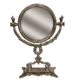 Charles Sadek Round Magnifying Flip Mirror on Decorative Silver Base
