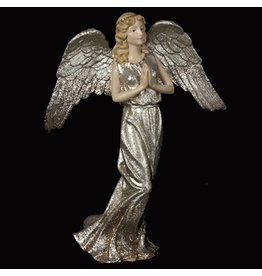 Kurt Adler Glittered Platinum Angel Table Piece Figurine C7259-A Kurt Adler