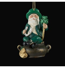 Kurt Adler Irish Christmas Ornament Irish Santa w Shamrock on Pot of Gold