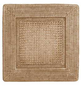 Caspari Rattan Chargers HDP02W Square Charger White