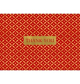 Caspari Thank You Note Cards Christmas 86623.48 Diamond Brocade Red Set of 8