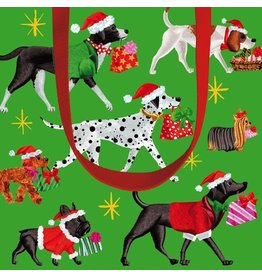 Caspari Christmas Delivery Gift Bag w Dogs in Santa Hats - Small