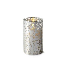 Luminara Flameless Candle Silver Mercury Glass Pillar Cylinder 6 inch