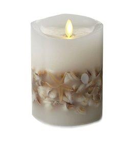 Luminara Flameless Candle Wax Pillar w Sea Shells 4Dx5H inch White