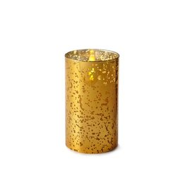 Luminara Flameless Candle Gold Mercury Glass Pillar Cylinder 6 inch