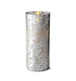 Luminara Flameless Candle Silver Mercury Glass Pillar Cylinder 8 inch