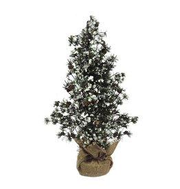 Darice Mini Christmas Tree w Snow Pine Cones Burlap Base 18 inch