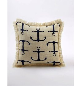 Mud Pie Burlap Pillow w Nautical Print 13x13 4265242N Anchor Print