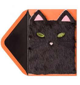 Papyrus Greetings Halloween Card Furry Black Cat with Green Bejewelled Eyes by Papyrus