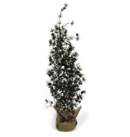 Darice Mini Christmas Tree w Snow Pine Cones Burlap Base 30 inch