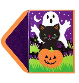 Papyrus Greetings Halloween Card Ghost Cat and Pumpkin by Papyrus