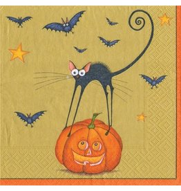 Caspari Halloween Paper Napkins 13610C Bat Cat Gold Cocktail Napkins
