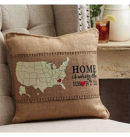 Mud Pie Home is Where the Heart Is Pillow Wrap w Moveable Heart Lapel Pin 7x33