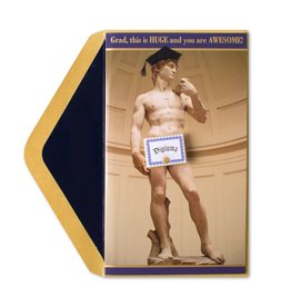 Papyrus Greetings Graduation Card Statue of David w Diploma