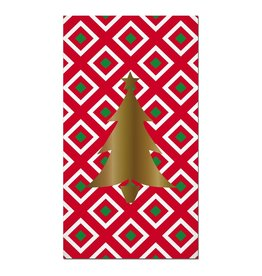 Slant Christmas Paper Guest Towels 16pk-Foil Christmas Tree