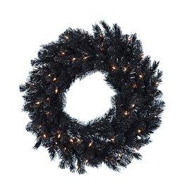 Kurt Adler Black Wreath Pre-Lit w Clear Lights Indoor Outdoor 30 Inch