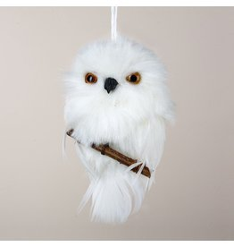 Kurt Adler Christmas Ornament White Owl On Branch Hanging Ornament