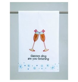 Peking Handicraft Christmas Towel Glasses Ding Are You Listening by Peking