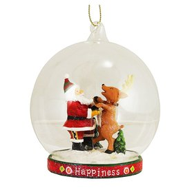 Ornament Glass Globe Scene 36-34264-A Happiness