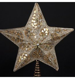 Kurt Adler Christmas Star Tree Topper Silver Gold w Glitter Beading and Cording