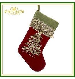 Kurt Adler Christmas Stocking Burgundy Felt Stocking w Tree