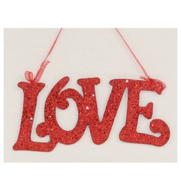 North Star Premier Valentine's Decor Red Glittered Love Ornament