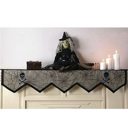 Peking Handicraft Haloween Mantel Cover | Skull w/ Spider Web Mantel Cover