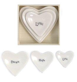 East of India Porcelian 3pc Stackable Heart Dish Keepsake Love Hope Dream E2071 East of India