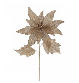 Kurt Adler Poinsettia Stem 18L Burlap w Leaves B4045 Christmas Flowers Floral