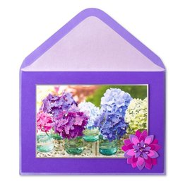 Papyrus Greetings Mothers Day Card Hydrangeas in Jars