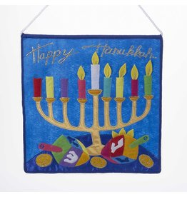 Kurt Adler Glass Judaic-Jewish Wall Banner w Happy Hannukah Menorah 14 Inch Felt
