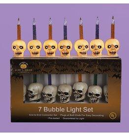 Kurt Adler Halloween Skull Bubble Lights Set w 7 Skull Lights