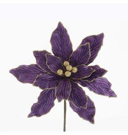 Kurt Adler Velvet Purple w Gold Poinsettia 18 inch Christmas Floral